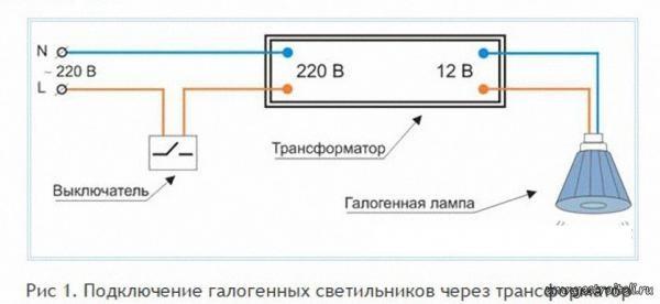 Подключение галогенных ламп через трансформаторы