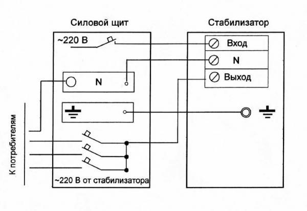 Схема подключения к однофазной сети