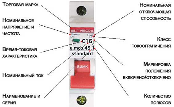 Обозначение в электрических автоматах