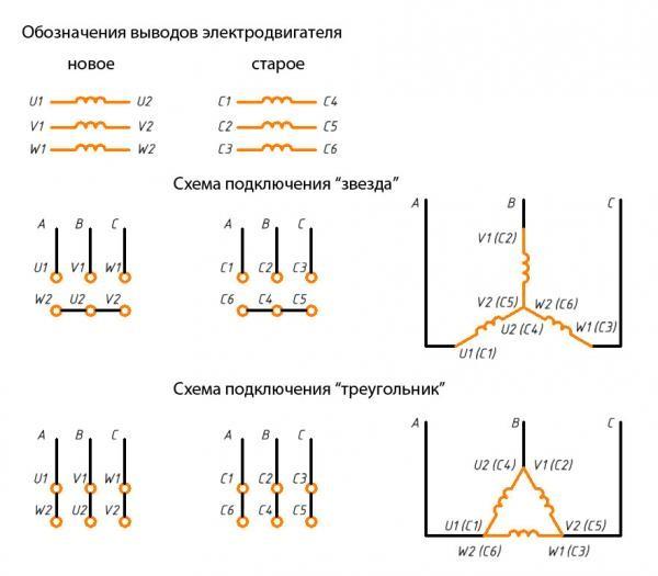 Соединение треугольник и звезда