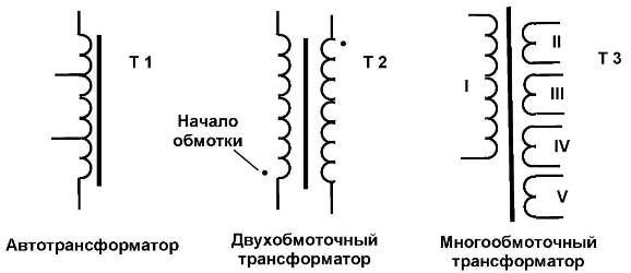 Обозначения трансформаторов в схемах