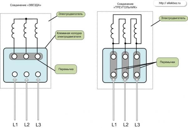 Схема подключения эл.двигатель 380