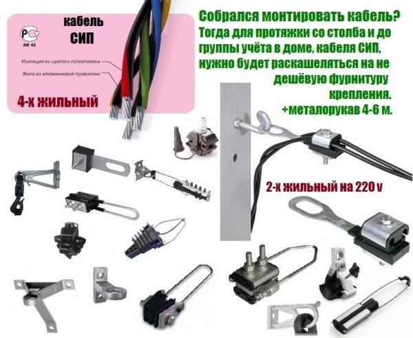 Монтаж сип кабеля от столба к столбу