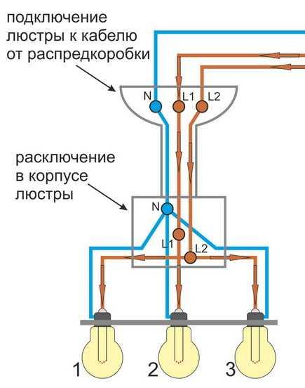 Подключение трехрожкового светильника