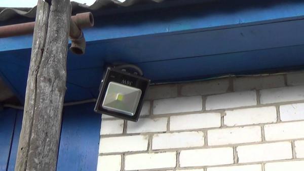 Монтаж прожектора