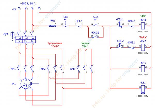 Схема подключения трехфазного двигателя