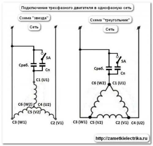 подключение трехфазного асинхронного двигателя на 220 вольт