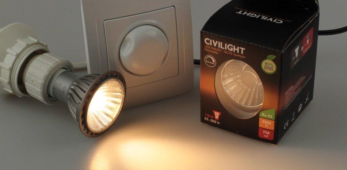 светодиодная и галогенная лампа GU 10