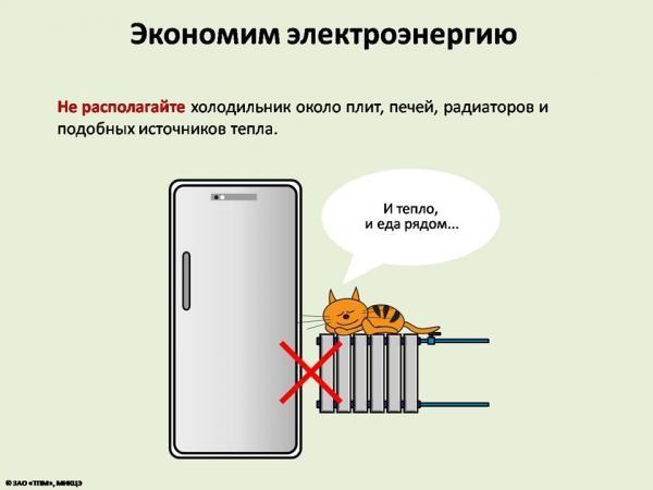 Расположение холодильника для экномичности