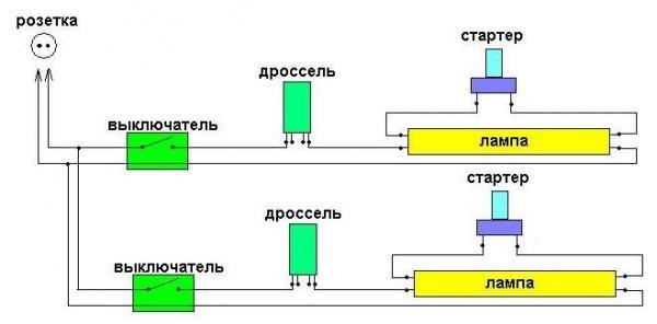 Схема подключения к лампе