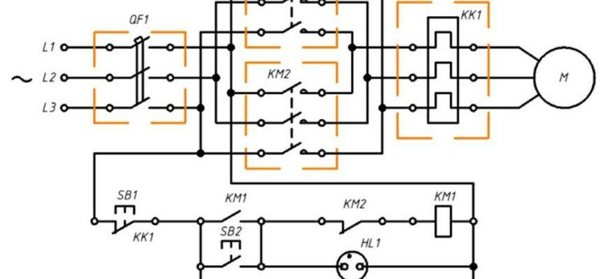 Реверсивная схема подключения пускателя
