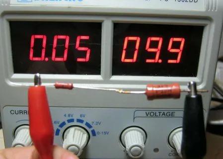 Падение напряжения на резисторе